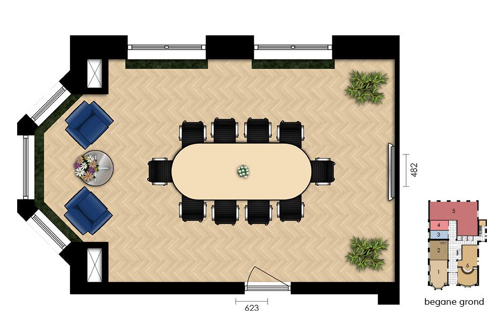 plattegrond vergaderruimte oranjesingel 2